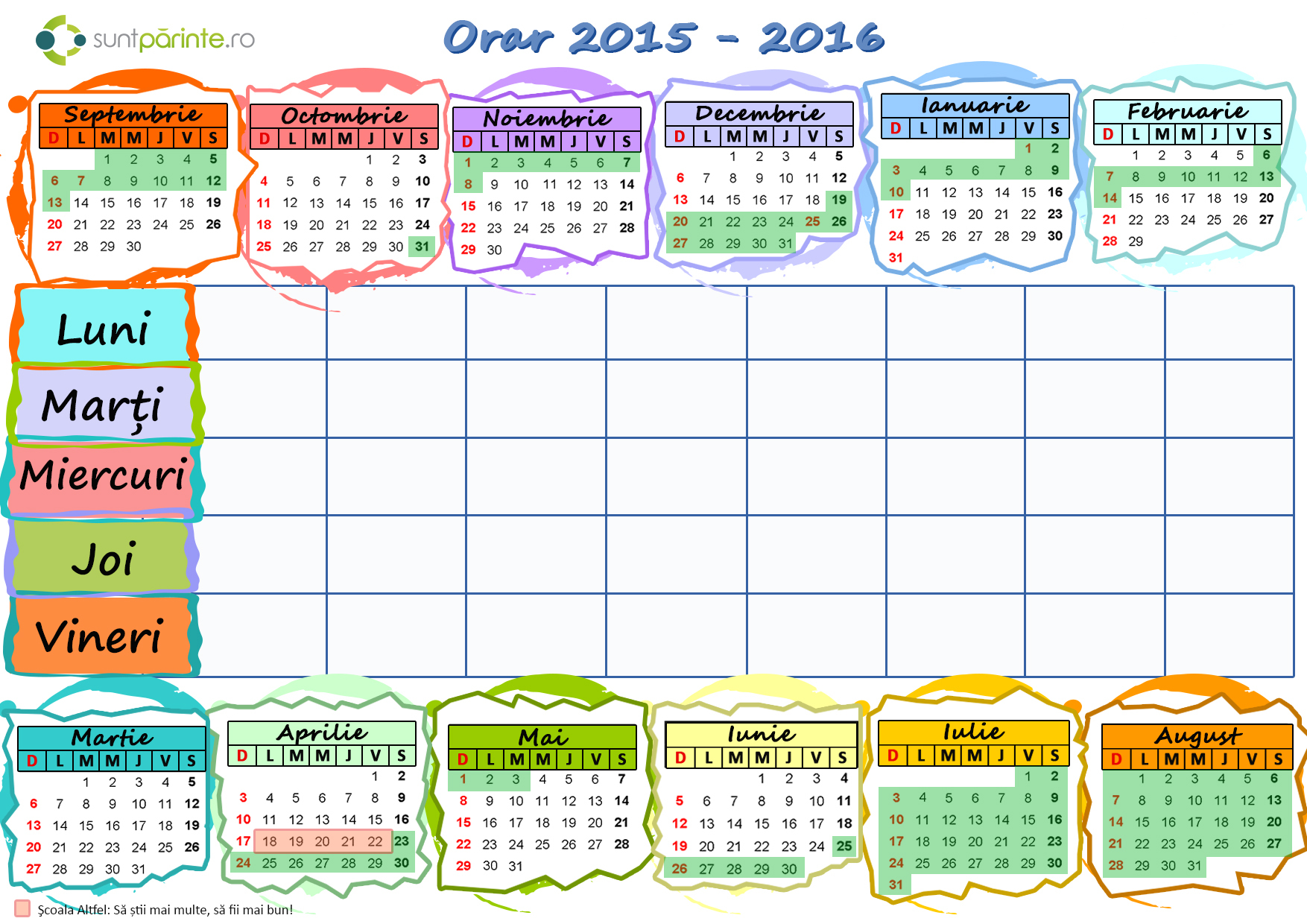 Structura Anului Scolar 2015 2016 Calendar | Search Results | Calendar ...