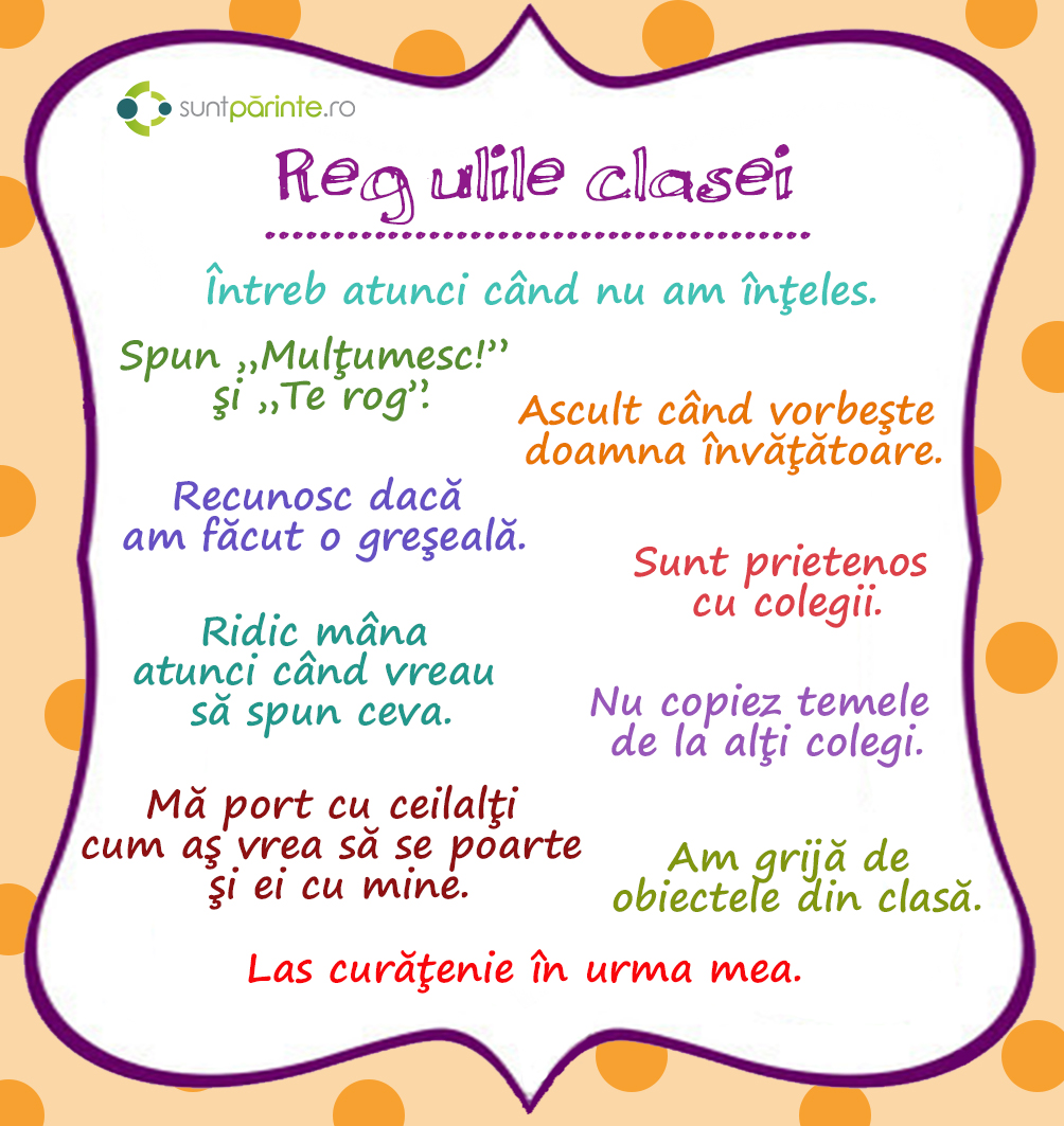 Regulile clasei - SuntParinte.ro